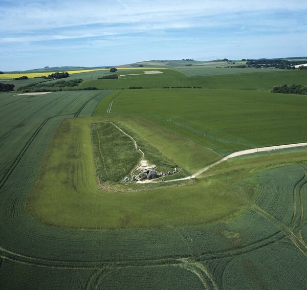 West Kennet Long Barrow from the air K040320. © Historic England