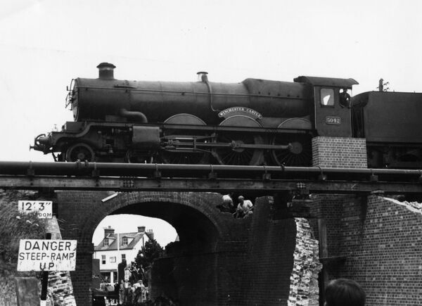 No 5042 Winchester Castle crossing Bruce Street bridges (during dismantling), Swindon, c1960. © Steam Picture Library