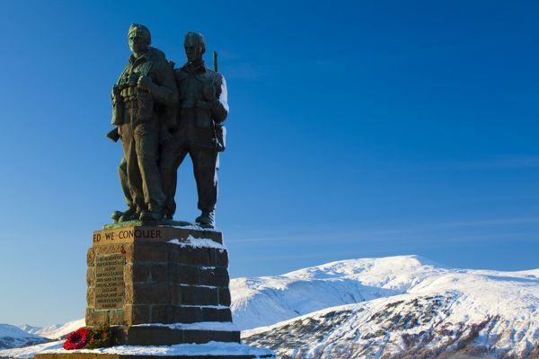 Scotland, Scottish Highlands, The Great Glen. The Commando Memorial near Spean Bridge in the Great Glen commemorates the commandos who trained in the area during the Second. © Jason Friend/Jason Friend Photography Ltd