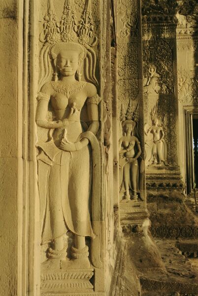 Relief carving on the temple at angkor wat siem