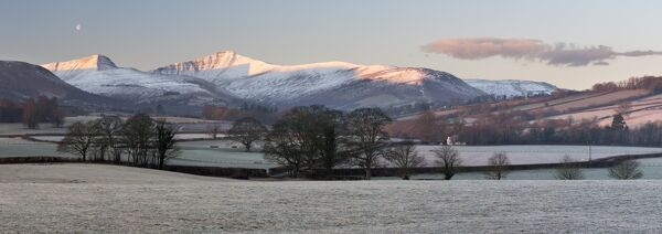 snow covered pen y fan in frost llanfrynach