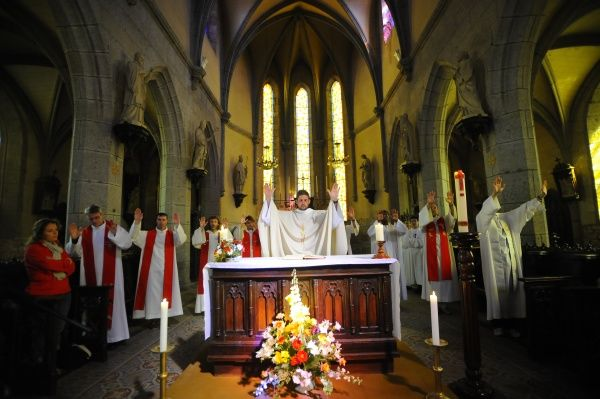 Ascension mass at Mont Saint Michel abbey. © Godong/UIG