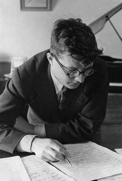 soviet composer dmitri shostakovich working in his study