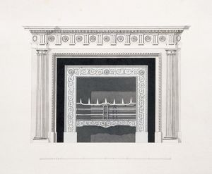 Audley End House. Library fireplace K960860