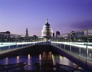 Millennium Bridge and St Paul's at dusk J060064