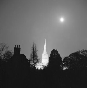 Salisbury Cathedral at night AA083369