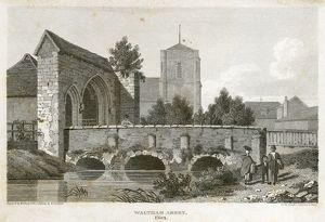Waltham Abbey Gatehouse engraving N110144