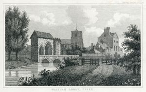 Waltham Abbey Gatehouse engraving N110145
