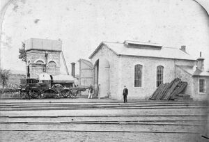Aries seen outside Faringdon Engine Shed, c1865