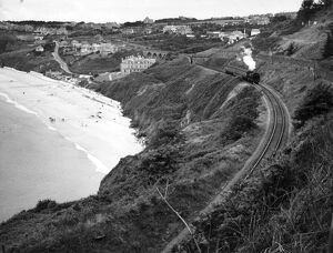 places/stations halts cornwall stations/locomotive carbis bay cornwall 1950s