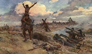 The Cross Bearers, WW1 battlefield by Matania