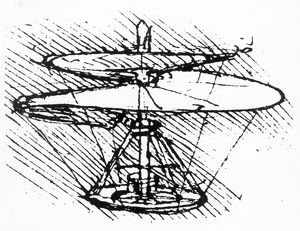 Helicopter design by Leonardo Da Vinci