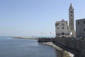 The Adriatic Sea, harbour wall and Cathedral of St. Nicholas the Pilgrim (San Nicola