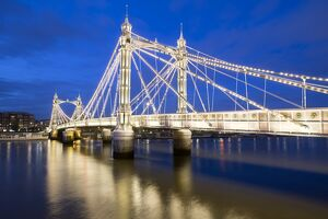 Albert Bridge and River Thames at night, Chelsea, London, England, United Kingdom, Europe