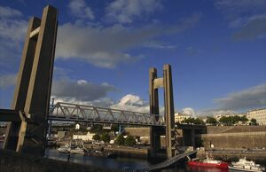 The biggest drawbridge in Europe, Recouvrance Bridge, Brest, Brittany, France, Europe