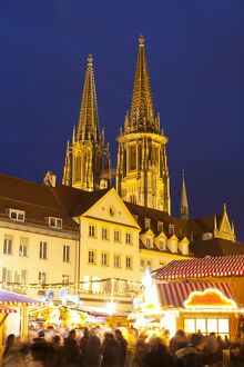 Christmas Market in Neupfarrplatz with the Cathedral of Saint Peter in the Background