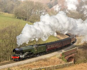 The Flying Scotsman steam locomotive arriving at Goathland station on the North Yorkshire