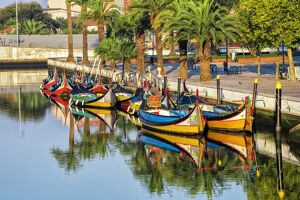 Gondola-like moliceiros boats anchored along the Central Channel, Aveiro, Beira, Portugal