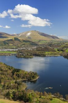 Keswick and Skiddaw viewed from The Catbells, Derwent Water, Lake District National Park