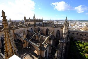 Seville Cathedral seen from Giralda bell tower, UNESCO World Heritage Site, Seville