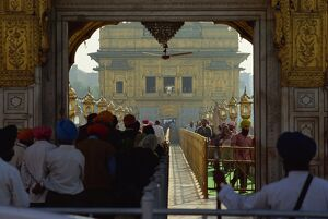 Sikhs at the entrance to the Golden Temple