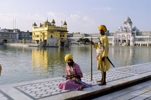 Sikhs in front of the Sikhs' Golden Temple