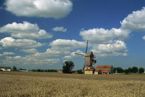 Site of oldest windmill in Europe, Hondschoote, Flanders, Nord, France, Europe