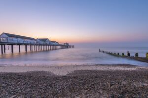 Southwold Pier at dawn, Southwold, Suffolk, England, United Kingdom, Europe
