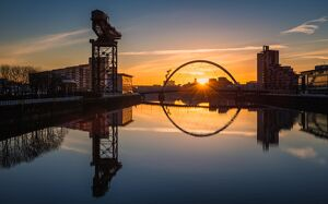 Sunrise at the Clyde Arc (Squinty Bridge), Pacific Quay, Glasgow, Scotland, United Kingdom