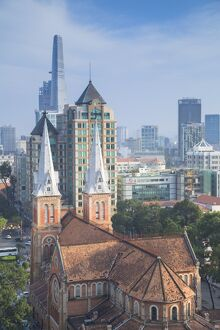 View of Notre Dame Cathedral and city skyline, Ho Chi Minh City, Vietnam, Indochina