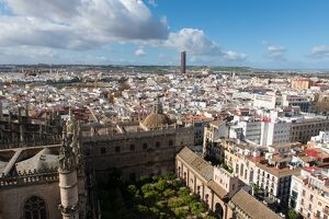 View of Seville from Giralda bell tower, Seville, Andalucia, Spain, Europe