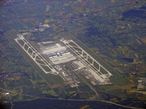 Aerial view of Munich Airport, Germany