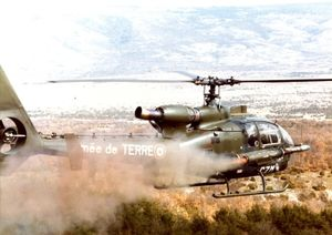 Aeropstiale Gazelle Helicopter firing rocket/missile