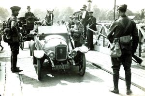 August 1914 Road vehicles are stopped by troops in England