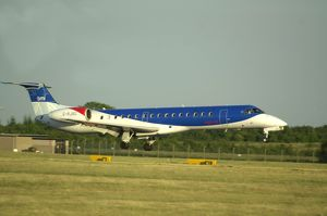 BMI Embraer ERJ145 landing at Manchester