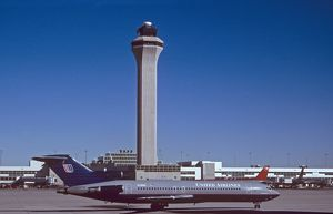 Boeing 727-200 United in front of Denver Airport ATC tower