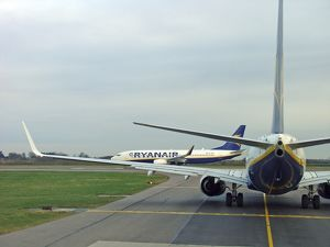 Boeing 737-800 Ryanair in queue at Stansted Airport