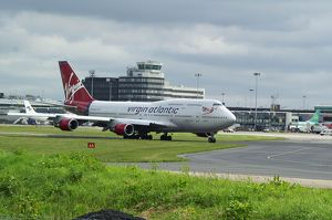 Boeing 747-400 Virgin at Manchester Airport Uk