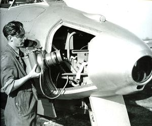 Camera being removed from an RAF Meteor FR9 aircraft 1951