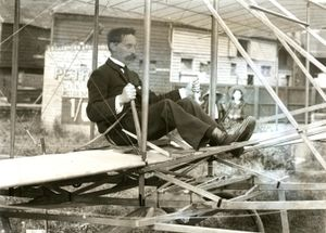 T W K Clarke seated in Charles-Wright Glider, September 1909.