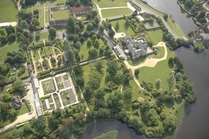 Aerial view of Palace House, Abbey and Beaulieu Grounds
