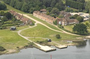 Beaulieu River Aerial view showing Buckler's Hard