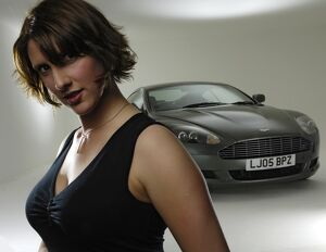 Female Model with 2005 Aston Martin DB9