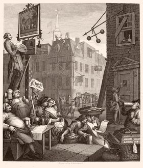 HOGARTH: BEER STREET. 'Beer Street and Gin Lane.' Steel engraving, c1860