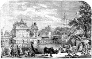INDIA: GOLDEN TEMPLE, 1858. The Golden Temple or Darbar Sahib, situated in Amritsar