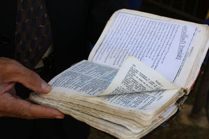 Bible reading at a Gipsy Evangelical meeting