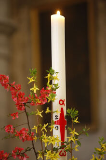 Easter candle in a Paris catholic church