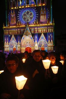 Light festival procession in Lyon