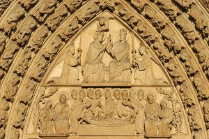 Notre Dame of Paris cathedral Virgin's Gate tympanum Mary's coronation and dormition