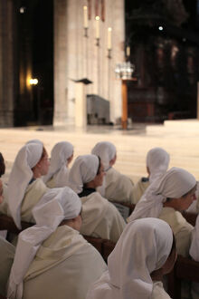 Nuns attending Easter wednesday celebration in Notre Dame cathedral